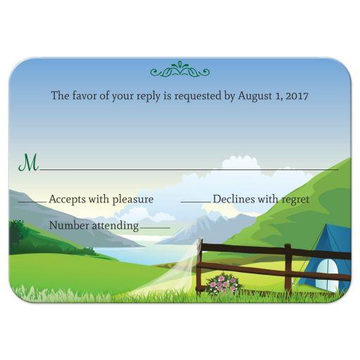 Wedding Reply RSVP Card - Moutain Lake Camping Glamping