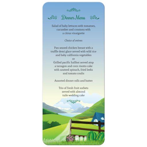 Wedding Menu Card - Moutain Lake Camping Glamping