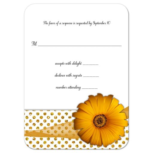 Gold Flower With Sparkly Glitter Polka Dots Response Card