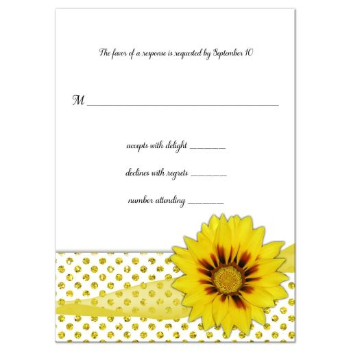 Yellow Flower With Sparkly Glitter Polka Dots Response Card