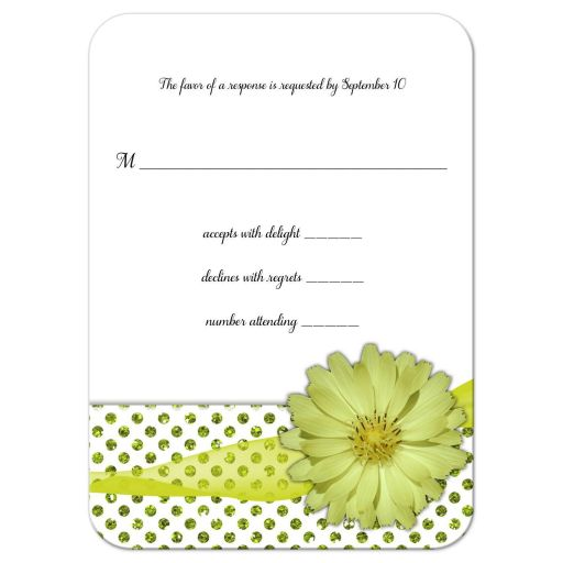 Mint Green Flower With Sparkly Glitter Polka Dots Response Card