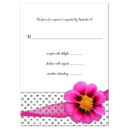 Hot Pink Flower With Sparkly Glitter Polka Dots Response Card