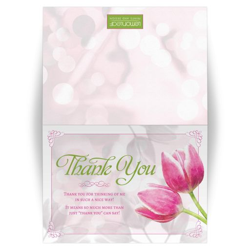 Pink tulip flowers general folded thank you greeting card