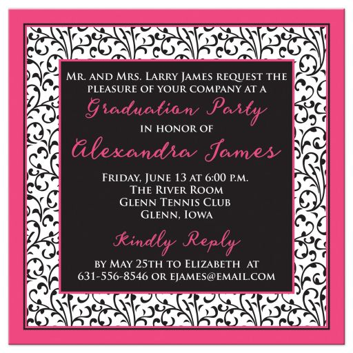 Chic and trendy hot pink, black, and white floral pattern photo graduation invitation back
