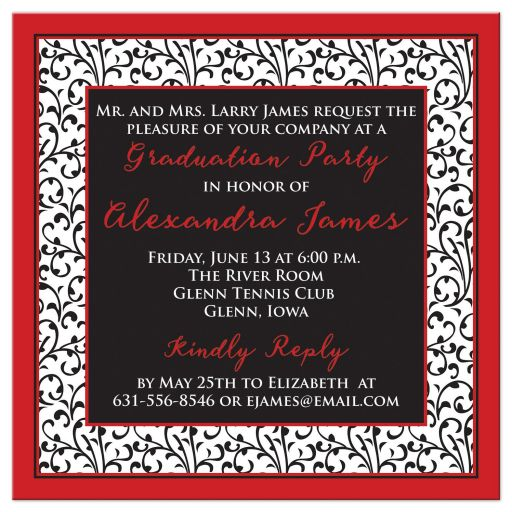 Chic and trendy red, black, and white floral pattern photo graduation invitation back