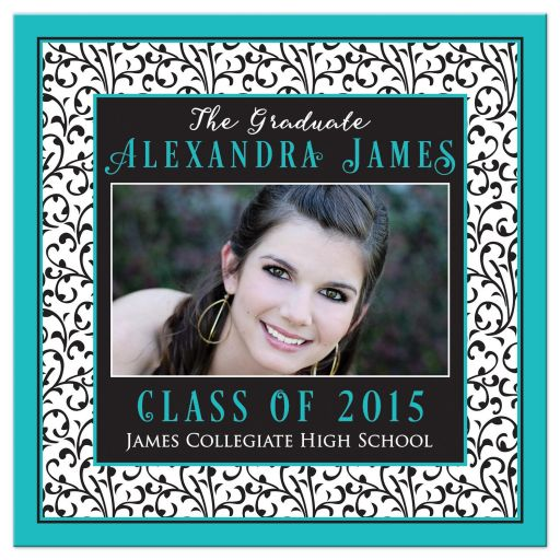 ​Chic and trendy turquoise, black, and white floral damask pattern photo graduation invitation front