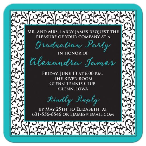 ​Chic and trendy turquoise, black, and white floral damask pattern photo graduation invitation back