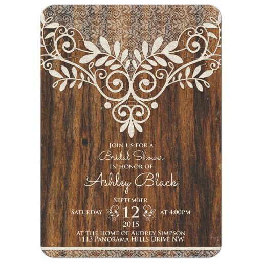 Rustic ivory lace and wood trendy bridal shower invitation front