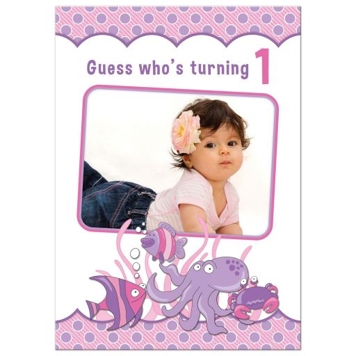 Under the sea, ocean themed photo girl's 1st birthday party invitation front