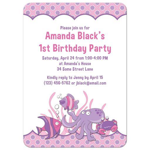 Under the sea, ocean themed photo girl's 1st birthday party invitation back