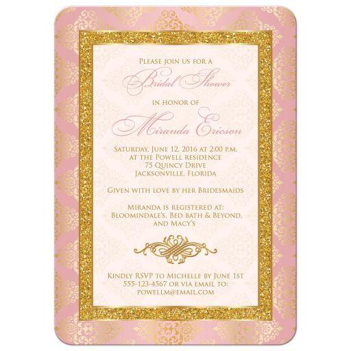 Blush pink, ivory and gold damask bridal shower invitation