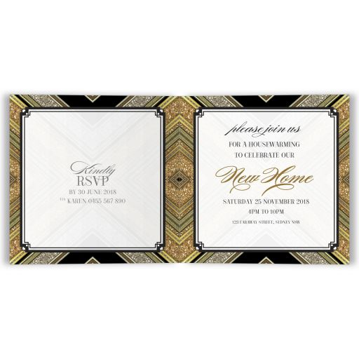Art Deco Gold Glitter Housewarming Party Invite