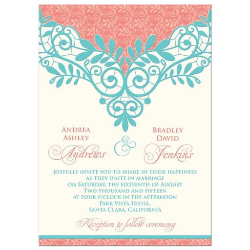 Coral Colored Wedding Invitations: Wedding Invitation Vintage Lace Coral Turquoise