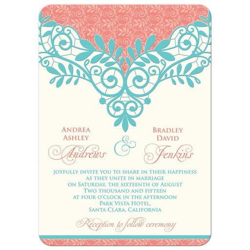 wedding invitation vintage lace coral turquoise