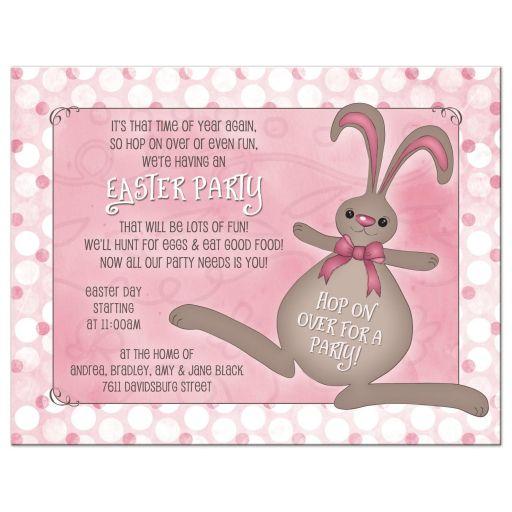 Bunny rabbit and polka dots pink Easter party invitation