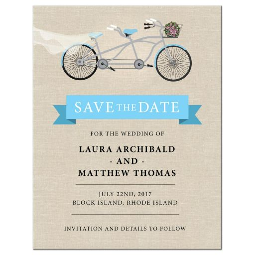 Save the Date Card -  Blue Tandem Bicycle Wedding