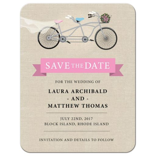 Save the Date Card -  Pink Tandem Bicycle Wedding