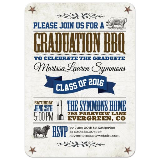 Graduation Party Invitation - Rustic BBQ Pig and Cow Blue Brown