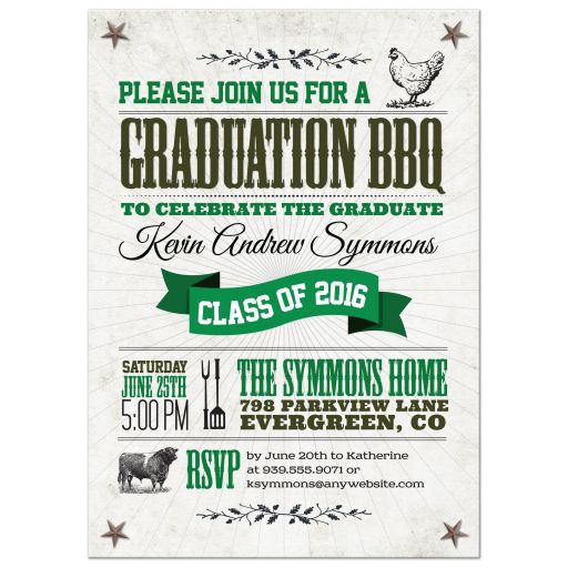 Graduation Party Invitation - Rustic BBQ Chicken and Cow Green Brown