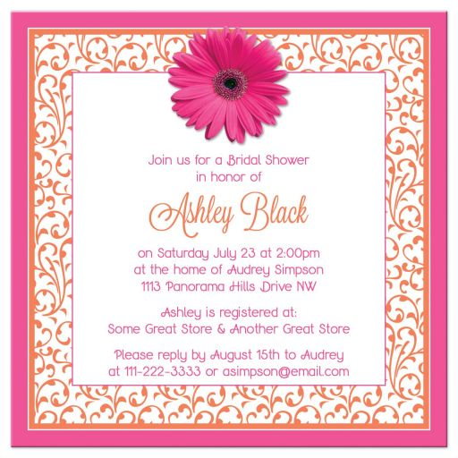 Hot pink and bright orange floral gerber daisy flower bridal shower invitation back