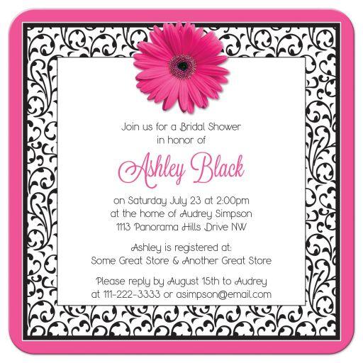 Hot pink, black, and white floral gerber daisy flower bridal shower invitation back
