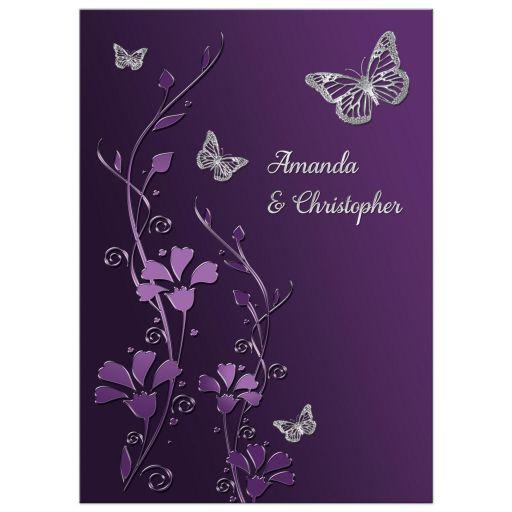 Wedding Invitation | Purple, Plum, Silver | Flowers ...