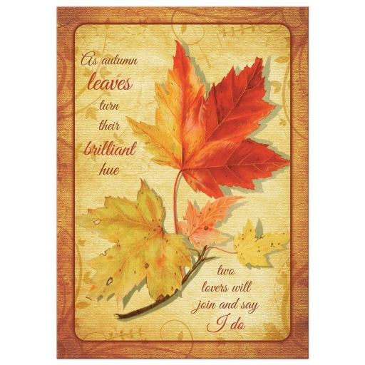 Maple leaves fall wedding invitation / autumn wedding invitation front