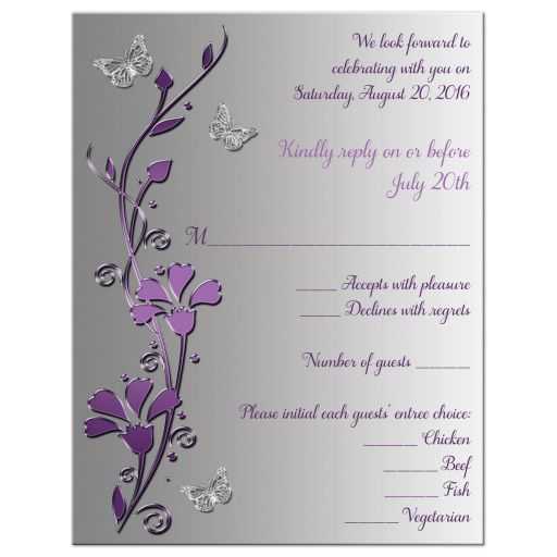 Affordable purple and silver grey floral wedding response card with butterflies