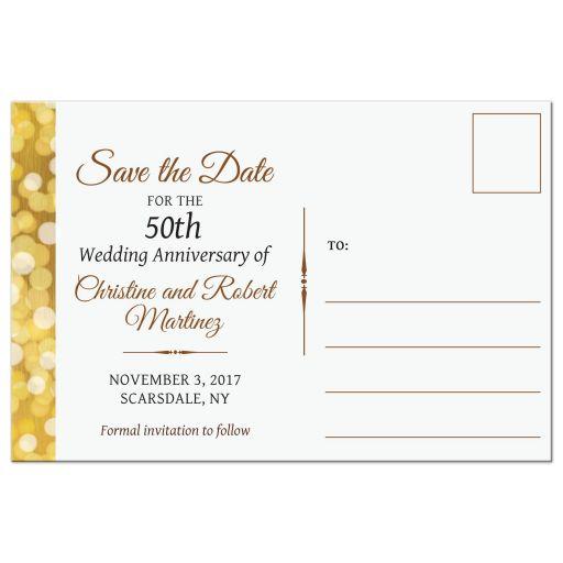 Save the Date Postcard - Golden Anniversary Bokeh Medallion