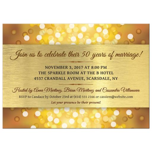 Anniversary Party Invitation - Golden Anniversary Bokeh Medallion