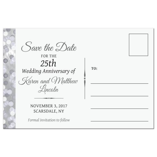Save the Date Postcard - Silver 25th Anniversary Bokeh Medallion