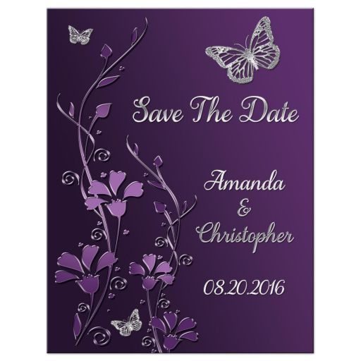 Plum, purple, and grey wedding save the date magnet with silver butterflies and flowers