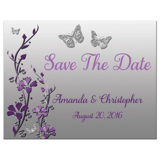 Plum, purple, and grey wedding save the date magnets with silver butterflies and flowers