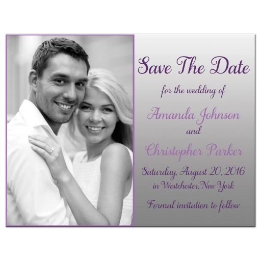 Affordable purple and silver gray floral wedding save the date card with photo template and butterflies