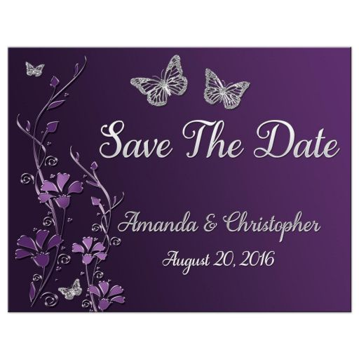Plum, purple, and grey wedding save the date card with silver butterflies and flowers