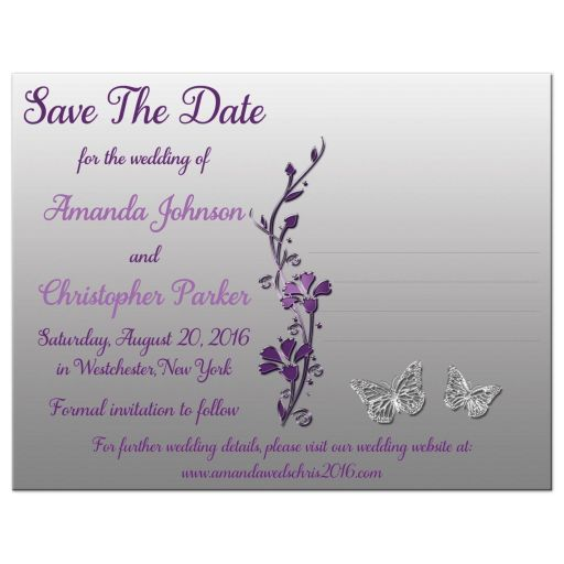 Affordable purple and silver gray floral wedding save the date card with butterflies