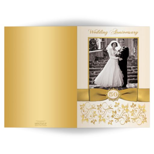 50th wedding anniversary invitation card in ivory and gold floral with ribbon and photos