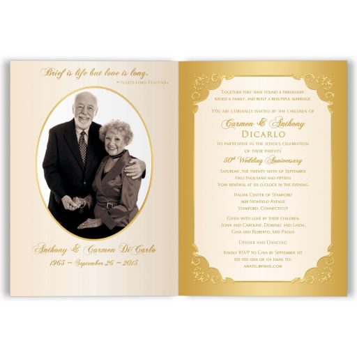 Affordable golden wedding anniversary invitation card with photos