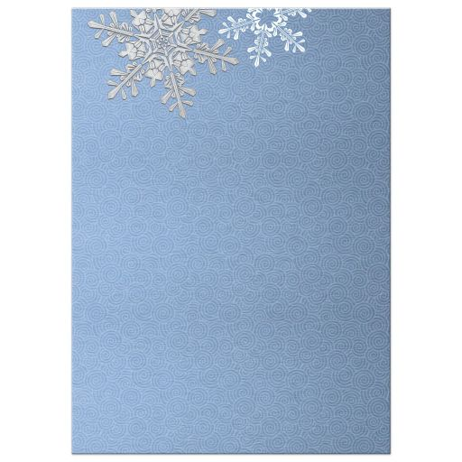 Blue, silver gray and white snowflake flourish winter post wedding reception only invitation back