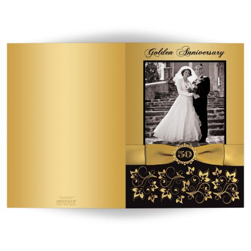 50th wedding anniversary invitation card in black and gold floral with ribbon and photos