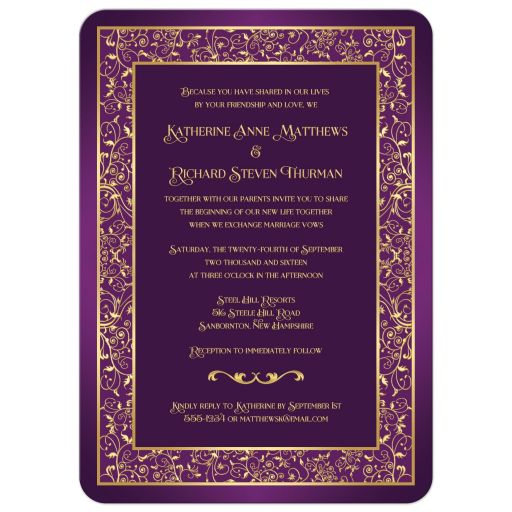 Purple and gold wedding invitation with floral scrolled border