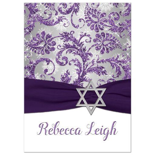 Winter wonderland bat mitzvah invitation in purple and silver grey