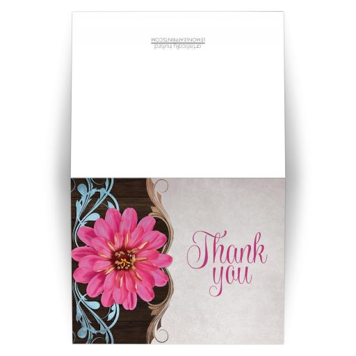 Thank You Cards - Rustic Country Pink Zinnia