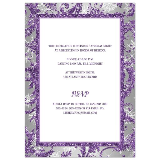 Purple, silver, white snowflakes Bat Mitzvah invitation with Jewish Star