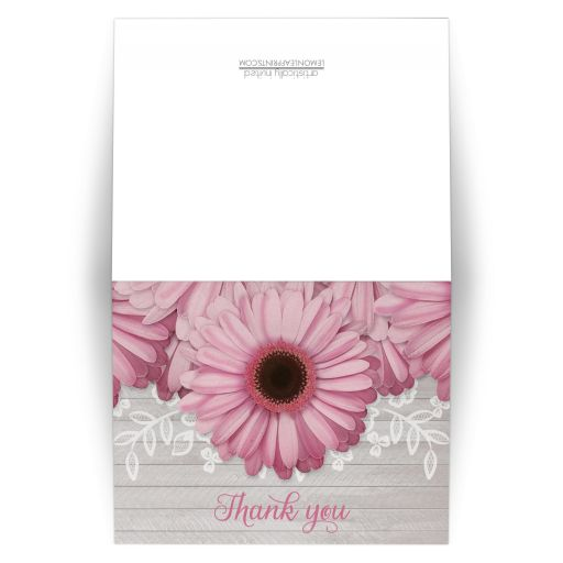 Thank You Cards - Rustic Pink Daisy Gray Wood