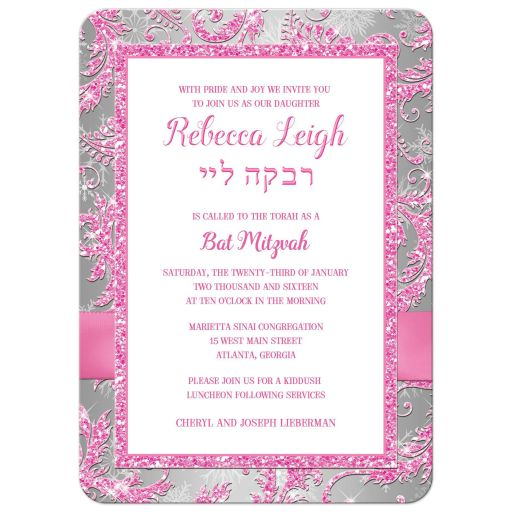 Ice pink, silver, white snowflakes Bat Mitzvah invitation with ribbon, bow and Jewish Star