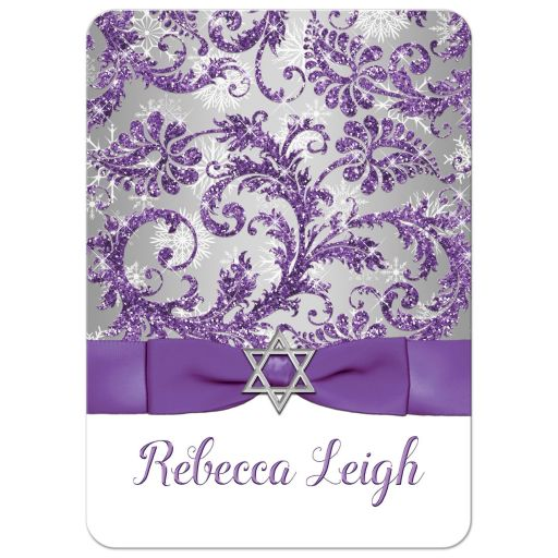 Winter wonderland bat mitzvah invitation in ice purple and silver grey