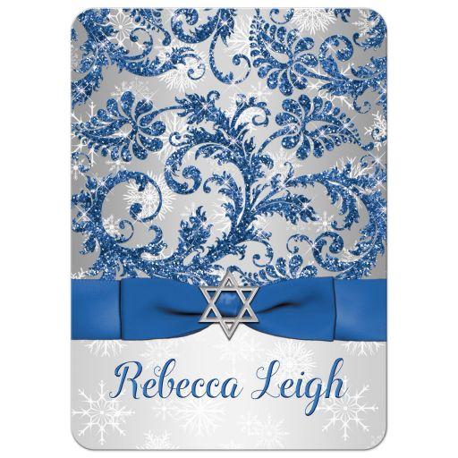 Winter wonderland bat mitzvah invitation in royal blue and white