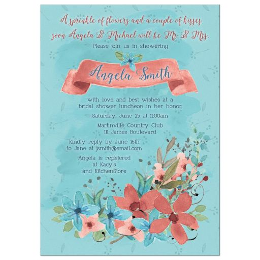 Bridal Shower Invitation Watercolor Floral Marsala Turquoise