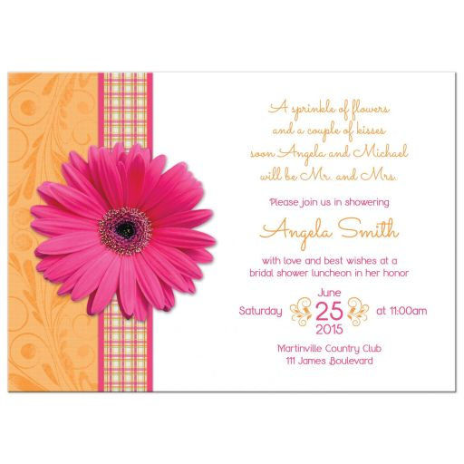 Pink gerber daisy and orange plaid ribbon country bridal shower invitation front